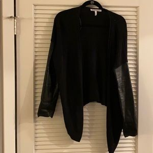 BCBG faux leather cardigan